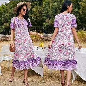 Boho gypsy floral print midi dress button purple